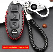 Black Genuine Leather w/Red Thread Remote Key Bag Holder& Key Chain for Nissan
