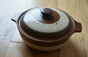 Denby, Vintage, 70's, brown & white casserole stew serving dish with lid