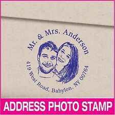 Personalized photo and address self-inking rubber stamp. Photo stamp. Weddings