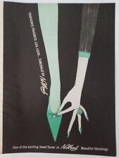 1958 women's No Mend Emerald green hosiery stockings vintage fashion ad