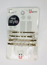 Scünci Real Hair Style Gold Bobby Pins with Pearls 4 Pcs Item 21162 New