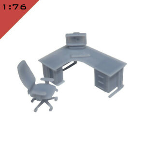 1x OFFICE FURNITURE SMALL SET 1 1:76, OO Model Miniature Interior Scene Layout