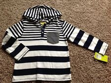 GenuineKids Boy Thin Hoodie Size 5T Blue White Striped New