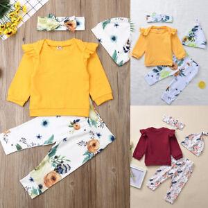 4PCS Cotton Newborn Infant Baby Girls Tops Romper + Floral Pants Outfits Clothes