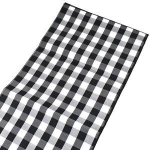 Buffalo Check Plaid Table Runner, Black/White, 72-Inch x 14-Inch