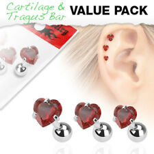 3 Pc Red Heart CZ Ear Cartilage Daith Tragus Helix Earrings Barbell Studs