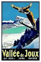 Vallée de Joux Jura Suisse Suiza 1020 M Letrero Metal Cartel Lata 20 X 30CM