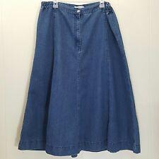 Roamans 20W Jean Denim Skirt Blue A Line Modest Long Church No Slits