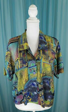 Z Cavaricci 1980's Cropped Button Front Abstract Print Blouse Sz Med Pre-Owned