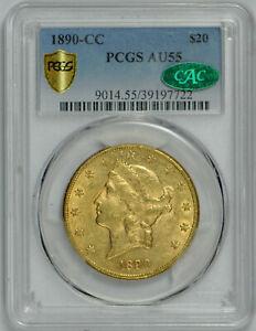 1890 CC $20 Gold Liberty Head Double Eagle AU 55 PCGS *CAC Verified!*