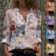 Plus Size Womens V Neck Floral Long Sleeve T-shirt Ladies Loose Tee Tops Blouse