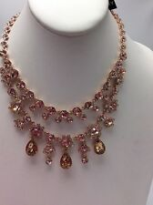 $225 Givenchy Rose Gold-tone Double Layer Crystal Statement Necklace #639