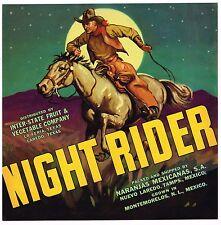 NIGHT RIDER TEXAS CRATE LABEL C1940 COWBOY HORSE VINTAGE WESTERN LA FERIA LAREDO