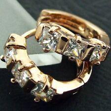 FS478 18K ROSE G/F GOLD SOLID DIAMOND SIMULATED VINTAGE DESIGN HOOP EARRINGS