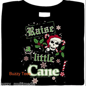 Raise A Little Cane, Christmas Shirt, Goth X-Mas, holiday tee, candy cane, skull