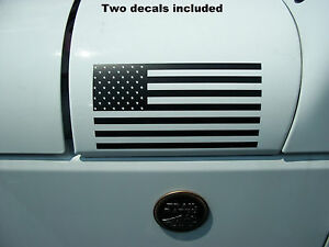 Mirrored Flag USA American (PAIR) DECAL Fender Hood Jeep Wrangler TJ YJ JK  FIT