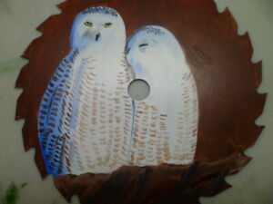 CIRCULAR SAW, SNOWY OWLS-HAND PAINTED-, by artist W. W. Hoffert