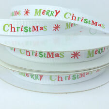 Merry Christmas Grosgrain ribbon 10mm wide white red & green per metre