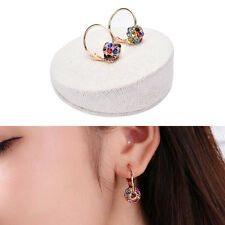 1 Pair Fashion Women Crystal Rhinestone Ear Stud Hoop Earrings Jewelry Gift