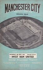 MANCHESTER CITY v WEST HAM UNITED ~ 8 SEPTEMBER 1962 FOOTBALL PROGRAMME