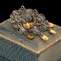 Antique Vintage Nouveau 830 Sterling Silver Norwegian Solje Wedding Pin Brooch