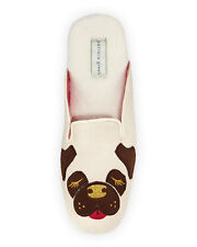 Patricia Green Collection PUG DOG Tan Microsuede Scuffs Slippers - 9