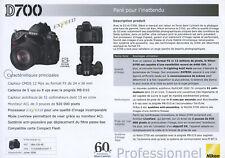 NIKON feuillet technique D700 édition 07/2008 en français