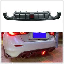 Car Carbon Rear Bumper Diffuser Lip For Infiniti Q50 Q50L 2018 19 Tuning W/ LED