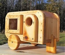 Camper trailer, handmade, square, Bluebird house with window, cedar wood, TBNUP