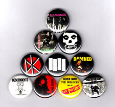 PUNK PINS / BUTTONS w/ MISFITS BLACK FLAG CLASH RAMONES & MORE (record lp shirt)