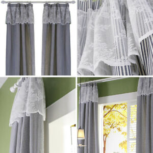 Rod Pocket Hook Window Curtain Bedroom Living Room One Panel Drapes Decor