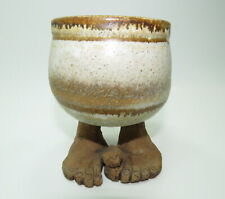 STONEWARE WHIMSICAL HANDCRAFTED POTTERY COFFEE MUG CUP W BELLY & FEET