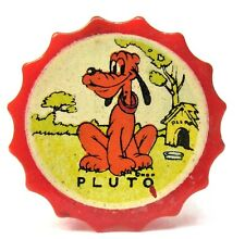 1940's Walt Disney PLUTO red Bakelite scalloped edge decal PENCIL SHARPENER *