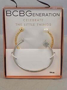 BCBG Generation CELEBRATE THE LITTLE THINGS Crystal Cube Pearl Bracelet GIFT SET