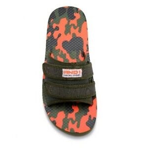 NWT AND1 CAMO ORANGE AND GREEN SLIDE ON FLIP FLOOS SIZE 12