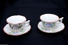 Antique Vintage Japanese Tea Cups & Saucers Childrens Blue Birds Set of 2+ Bonus
