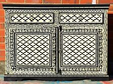 Black Hand Painted Sideboard Cabinet Buffet Indian Moroccan Geometric Bone Inlay