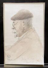 Peinture Aquarelle PAUL COUVREUR - Portrait à Juan Les Pins Août 1931 - PC186