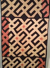 Antique African Raffia Textile, Black White and Red Pattern