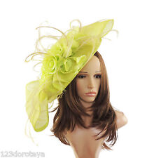 Large Lime Green  Fascinator for Ascot, Weddings, Proms, Derby, Formal M15