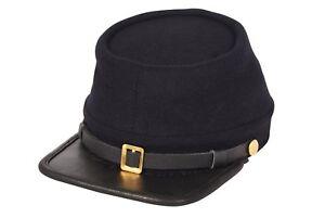 Civil War Union Army Leather Peak Kepi, Complete Navy Blue Kepi Hat