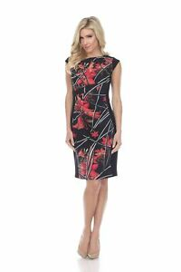 Joseph Ribkoff Black/Multi Floral Ruched Cap Sleeves Sheath Dress 193668 NEW