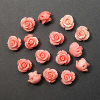10mm 15Pcs Pink Shell Carved DIY Rose Flower Beads Gemstone Jewelry Making