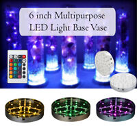 "6"" LED Light Base Vases Crystal 16 Colours Centrepiece Wedding Decor with Remote"