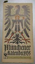 Münchener Kalender 1935 ERZMARSCHALL SACHSEN Blomberg Falkenstein Lilien Zimmern