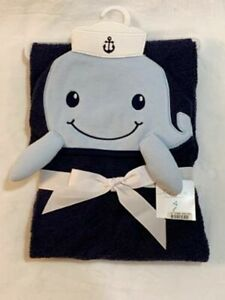 Little Treasure Sailor Whale Hooded Baby Towel Blue White Nautical New NWT
