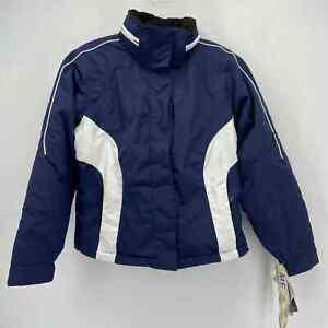 Obermeyer Velocity Ski Jacket Blue and White Waterproof Zip Pockets New Size 8