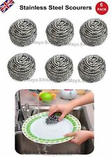 8x Stainless Steel Silver Metal Scourers KITCHEN Pots Pans Scrubber Cleaning