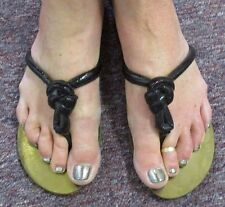 ROBERTO CAVALLI  Black Patent Leather Sandals with Knot at Front - Size 39