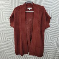 Coldwater Creek size XL 16 Cardigan Sweater Stretch Open Front Brick Red Cotton